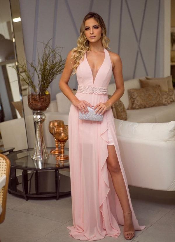 vestido longo rose com fenda para madrinha de casamento