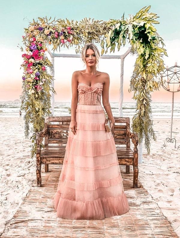 vestido rose madrinha casamento praia