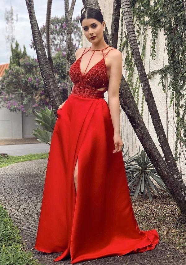 vestido de festa longo vermelho para formanda