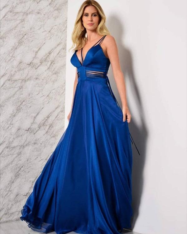 vestido longo azul royal fluido