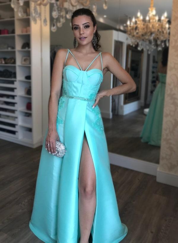 vestido longo azul tiffany para madrinha de casamento
