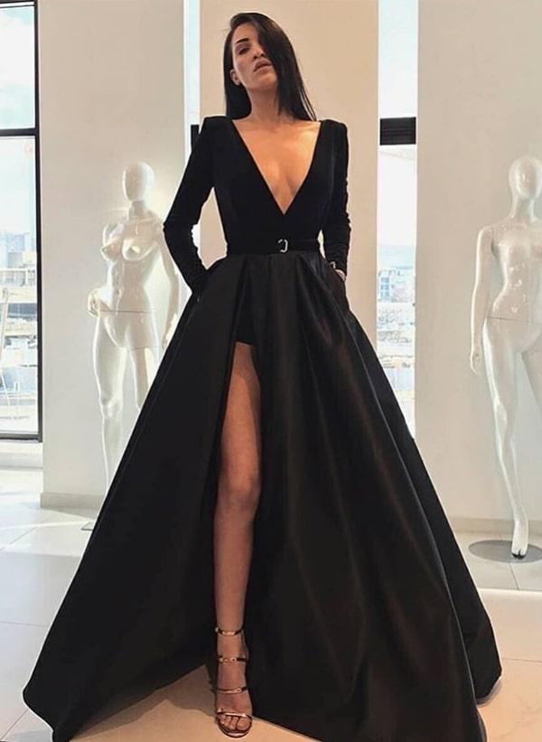 vestido de festa longo com fenda