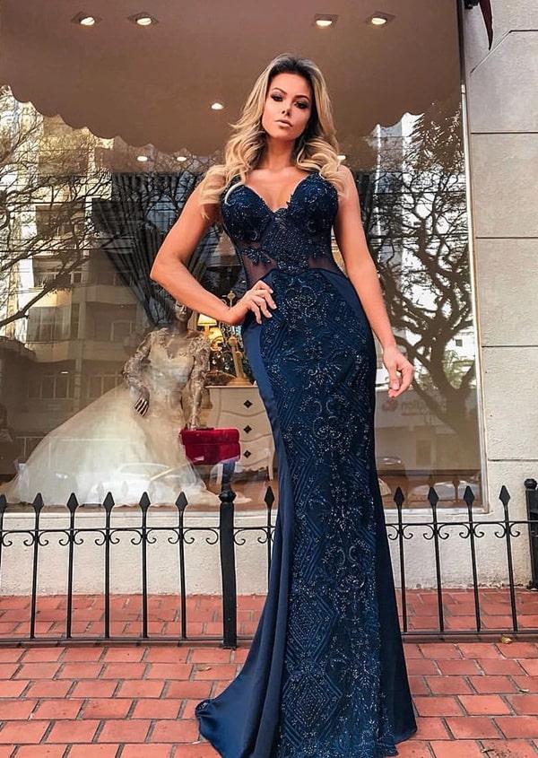 vestido de festa longo azul marinho com bordado