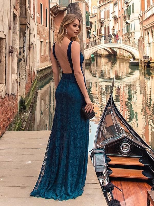 vestido longo azul petróleo para convidada
