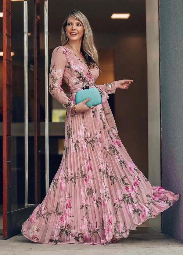 vestido longo com estampa floral