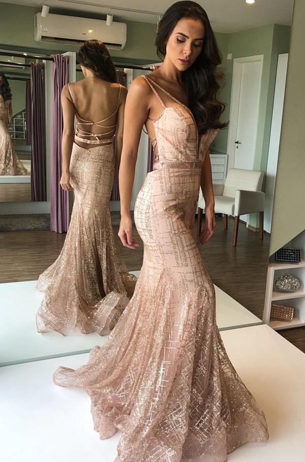 vestido longo rose gold