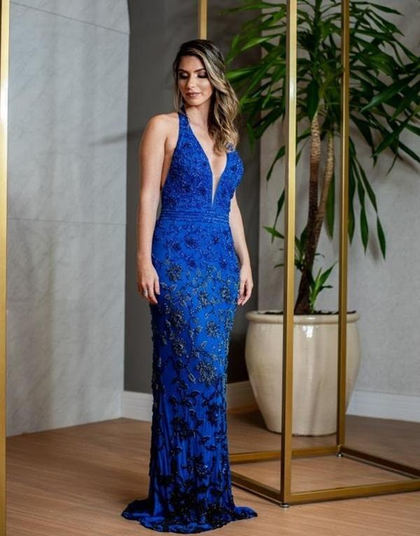 vestido festa longo azul royal bordado para formanda