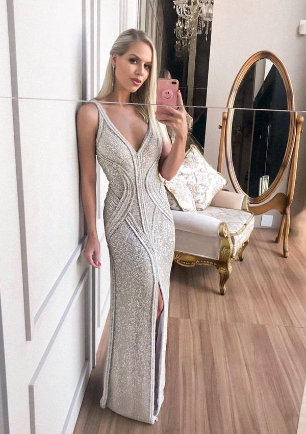 vestido bordado para formatura