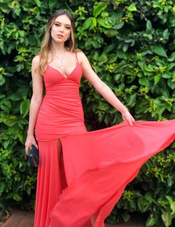 vestido longo coral