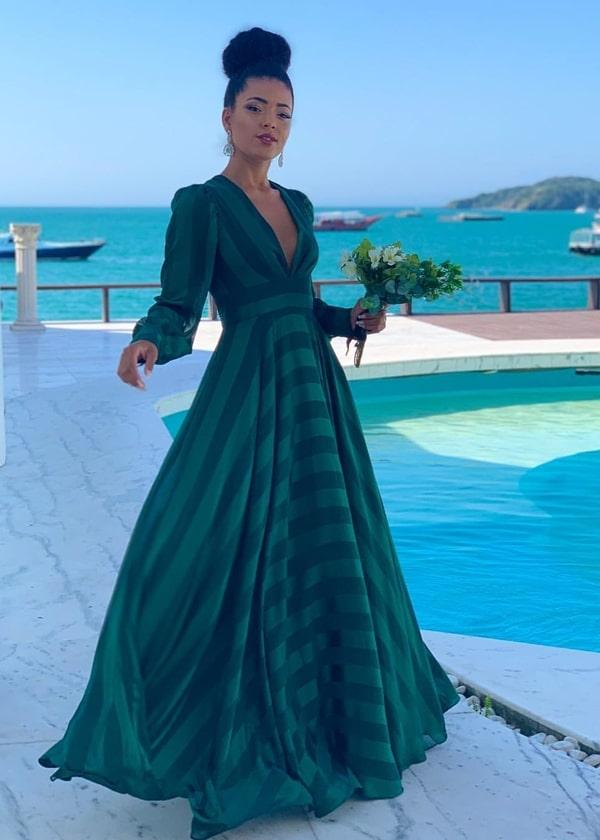 vestido longo verde para madrinha de casamento