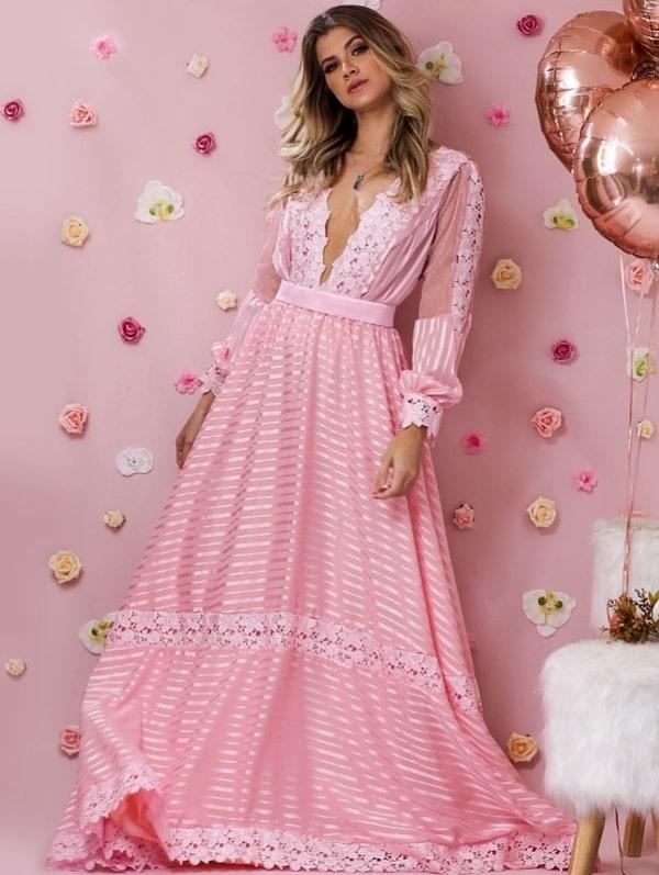 vestido longo rosa com manga longa para madrinha de casamento