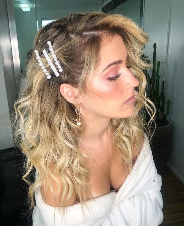 penteado de festa com presilha