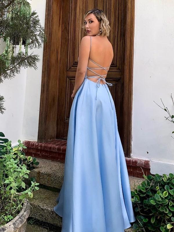 30 vestidos azul serenity e azul claro para madrinhas de casamento