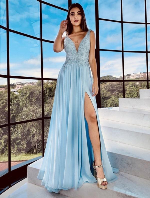 vestido de festa longo azul serenity