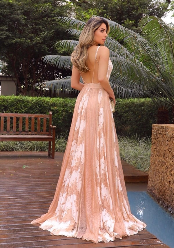 vestido de festa longo nude rendado