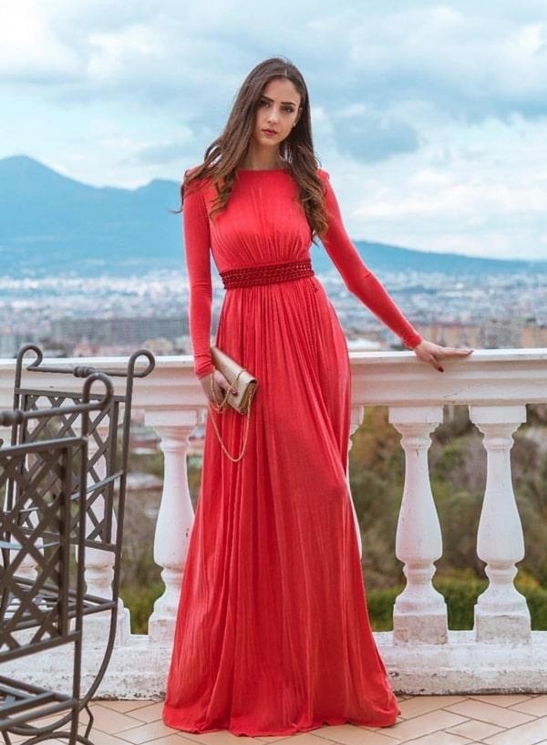 30 vestidos longos coral, pêssego e salmão para madrinhas de casamento