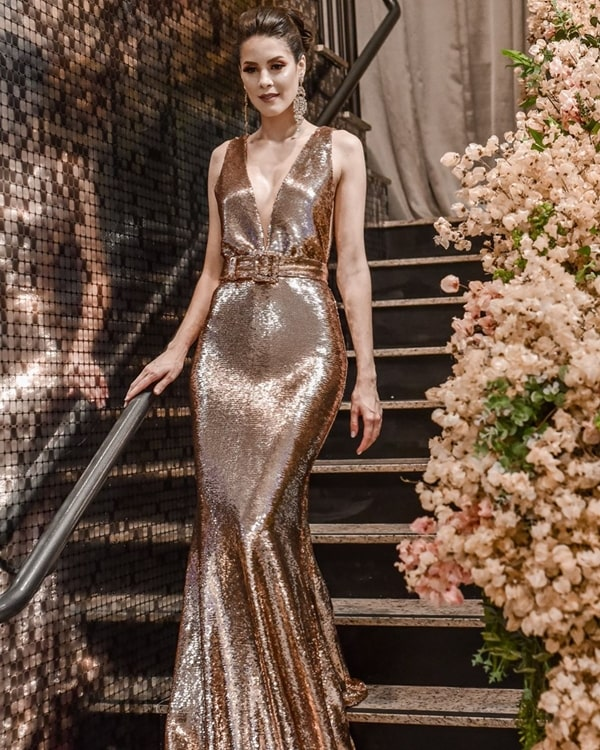 Vestido de festa longo dourado- evening dress