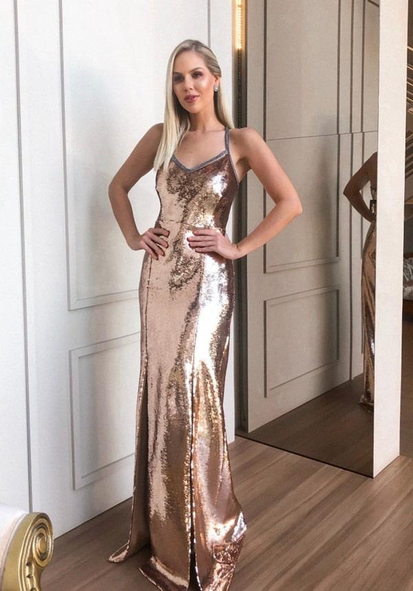 vestido longo dourado de paetês