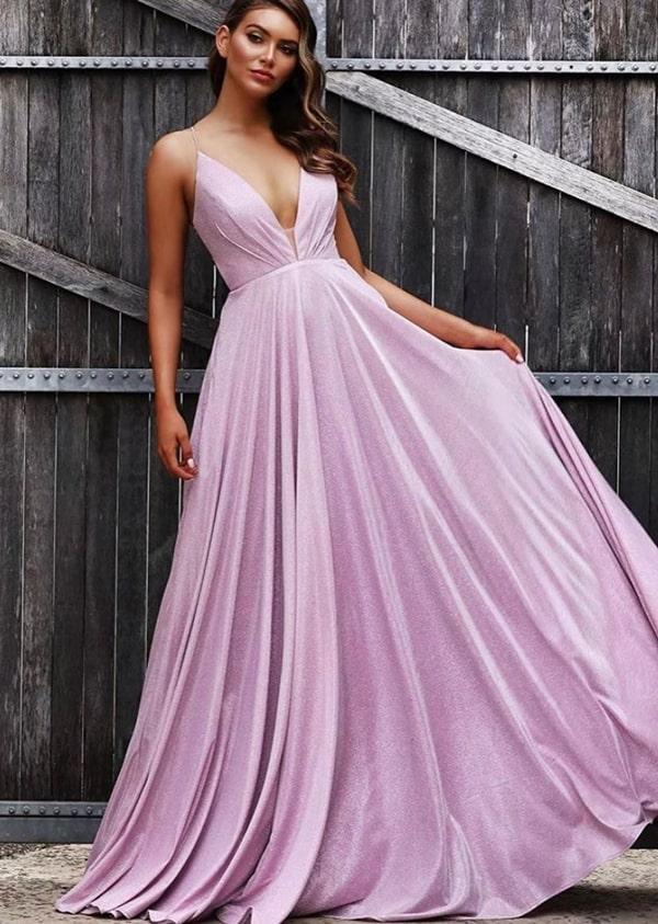 Vestidolilás longo com brilho para madrinha de casamento
