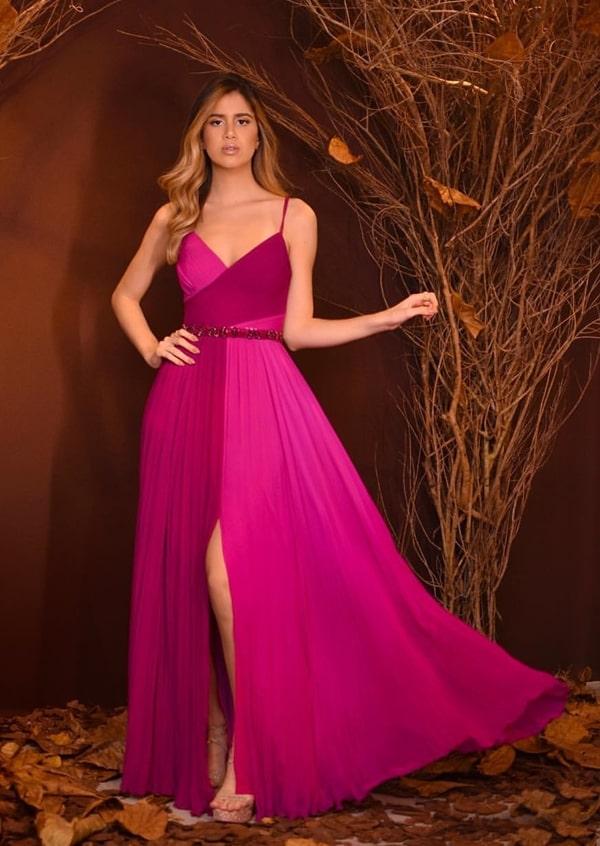 25 vestidos longos pink e fúcsia