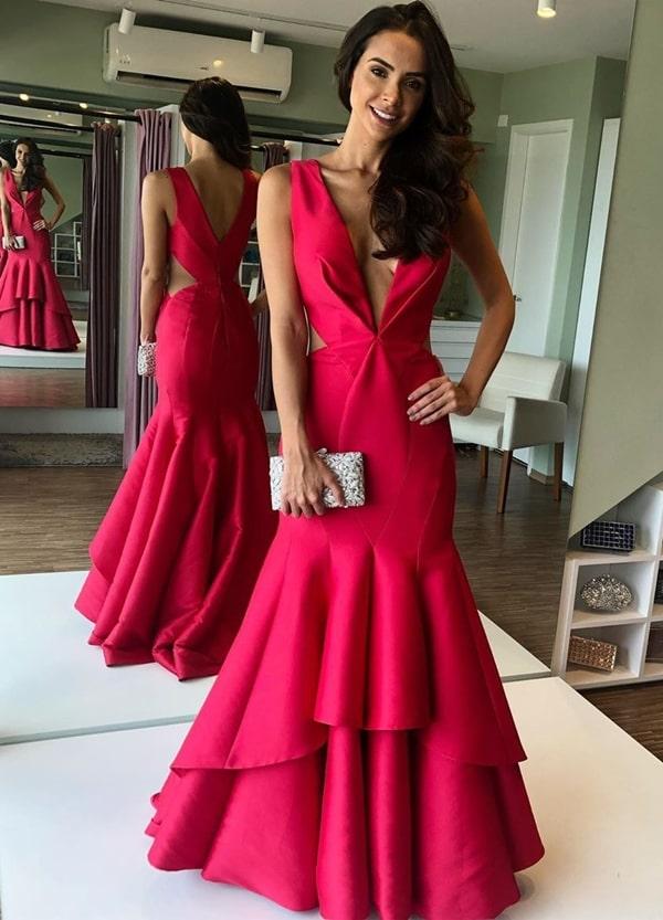 Vestido pink longo para madrinhas, formandas e debutantes