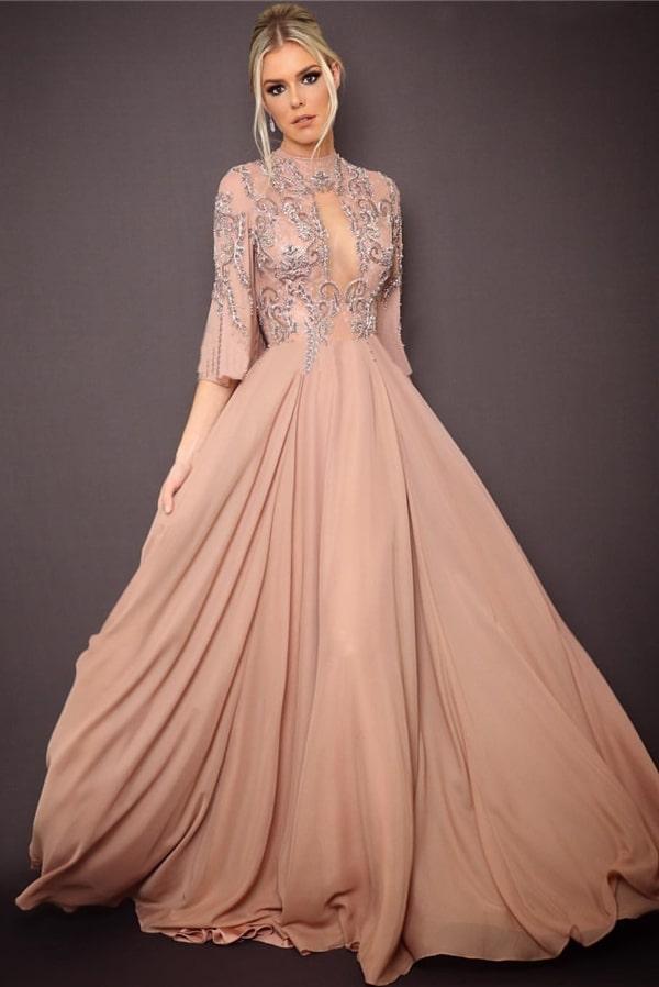 vestido de festa longo rosa nude