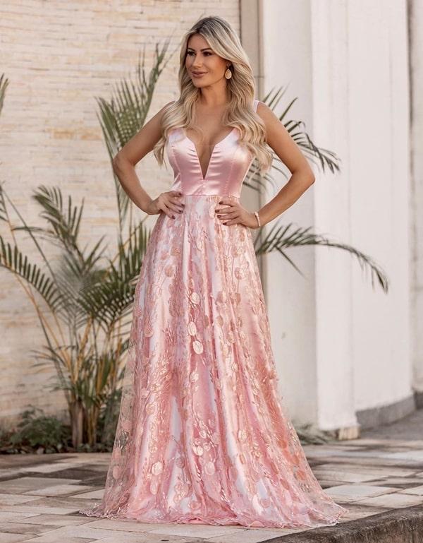 4549a3ccb 16-Vestido rose lindíssimo com saia de tule bordado e forro na cor do  vestido. À venda na Pimpnella, contato no 19.99774-9898.