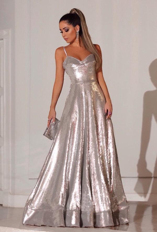 vestido de festa longo prata de paetês