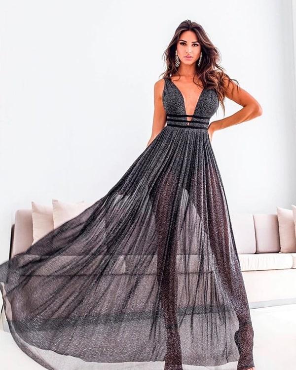 25 vestidos longos com transparência nas pernas