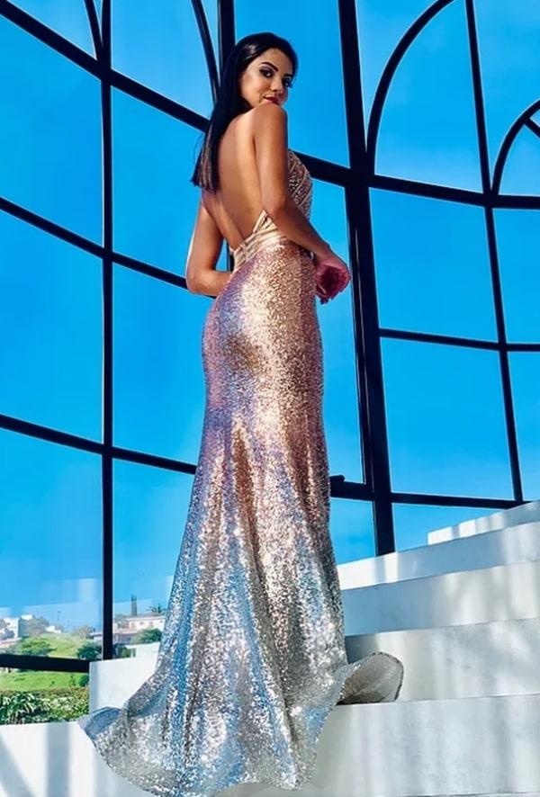 vestido de festa longo rose gold com decote nas costas