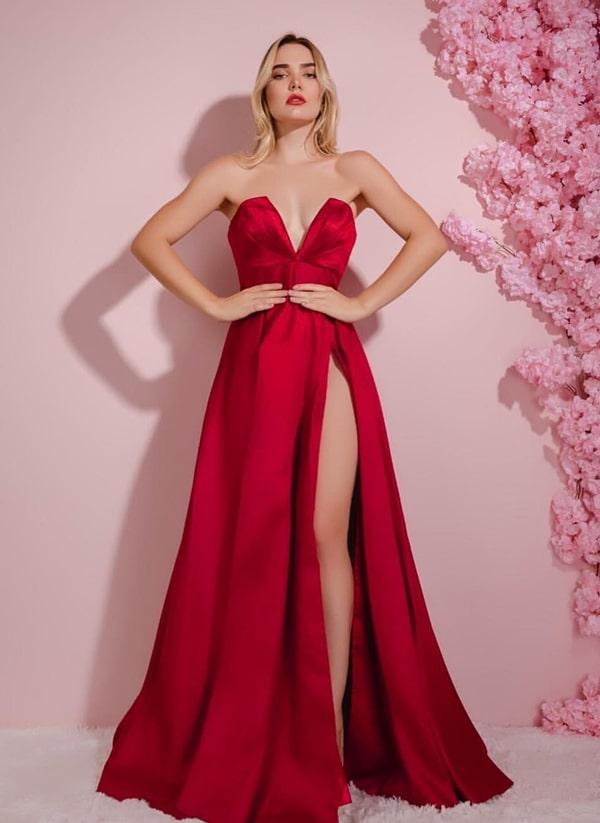 vestido de festa longo vermelho com fenda