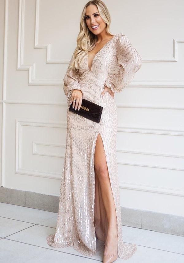 Vestido de festa 2019: 18 longos dourado e rose gold
