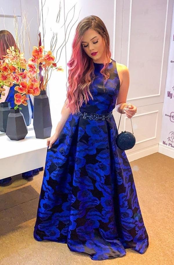 vestido de festa longo azul royal estampado