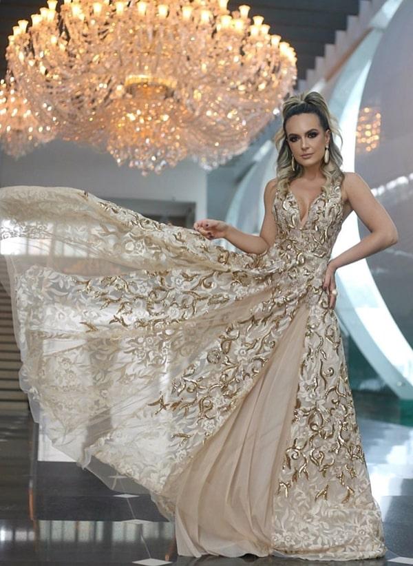 Vestido de festa 2019: 20 longos dourado e rose gold