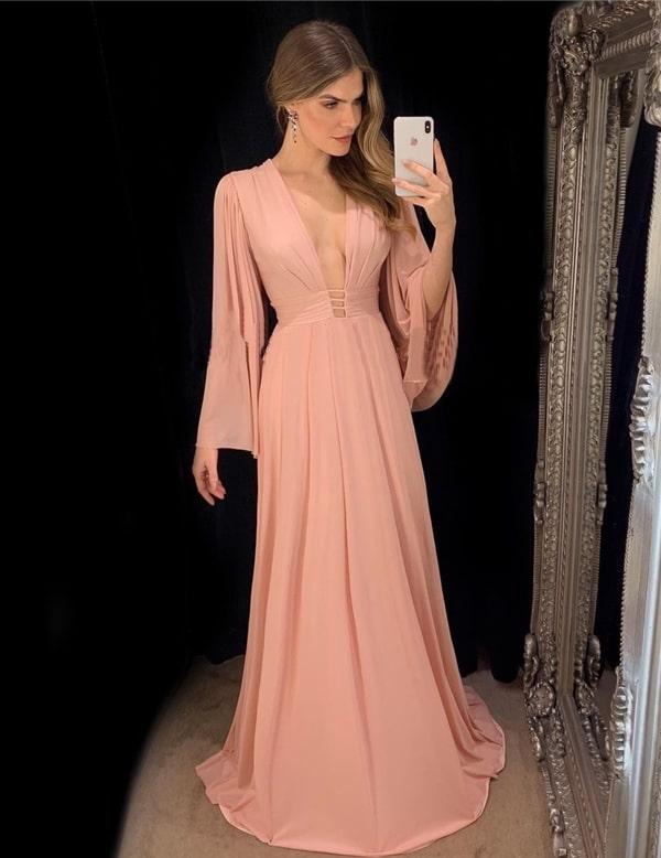 Vestido rosa para madrinha de casamento 2019: 25 vestidos longos para casamentos durante o dia e à noite