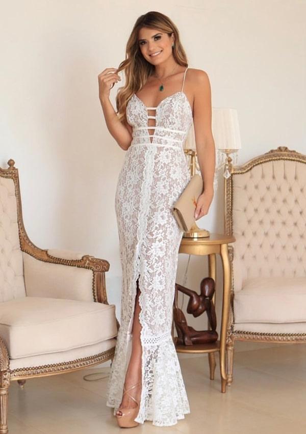 vestido longo branco rendado para casamento civil