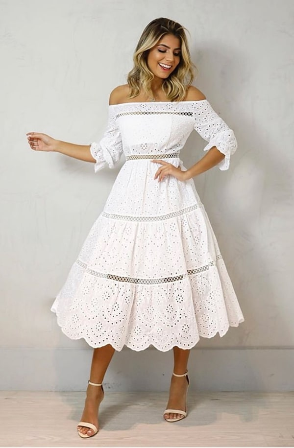 vestido branco midi rendado para noiva:  noivado ou casamento civil