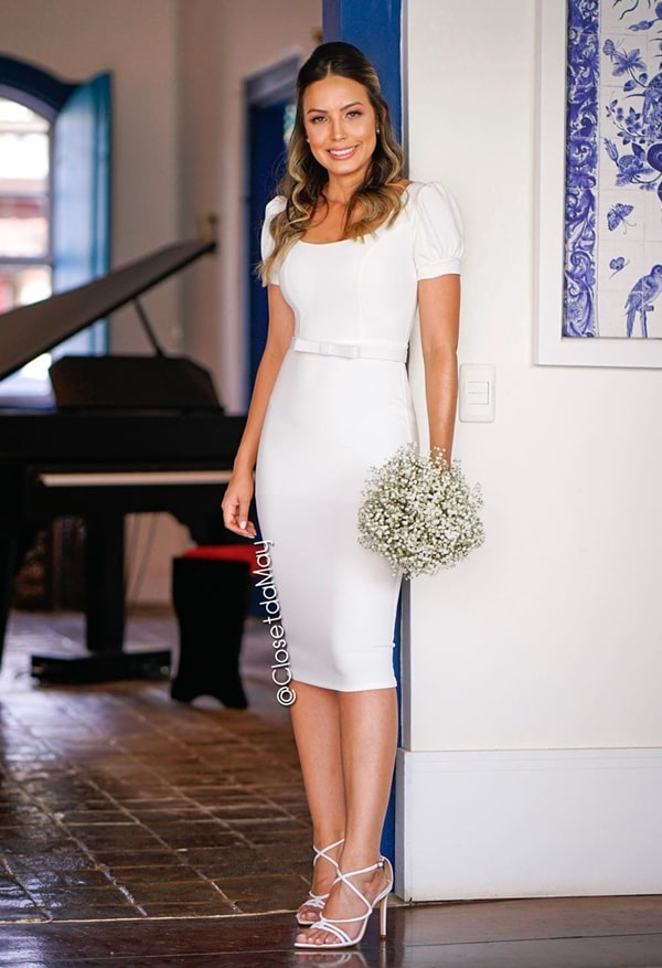 vestido branco midi para casamento civil ou noivado