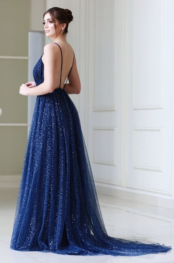 vestido de festa longo azul marinho com decote costas nuas