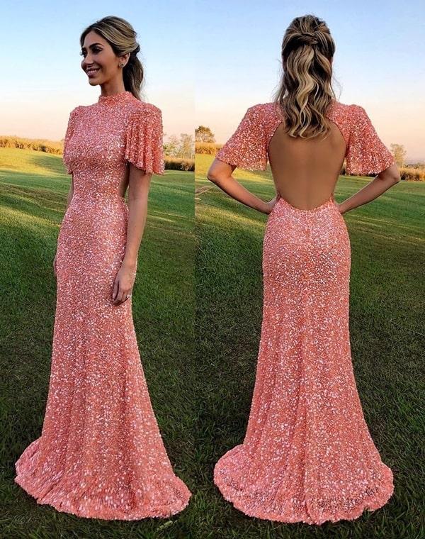 vestido longo cor pêssego para madrinha de casamento