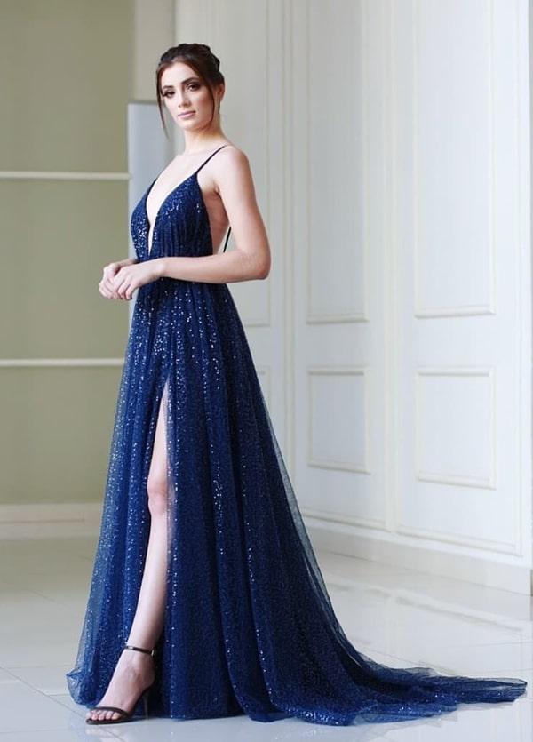 vestido de festa longo azul marinho com brilho