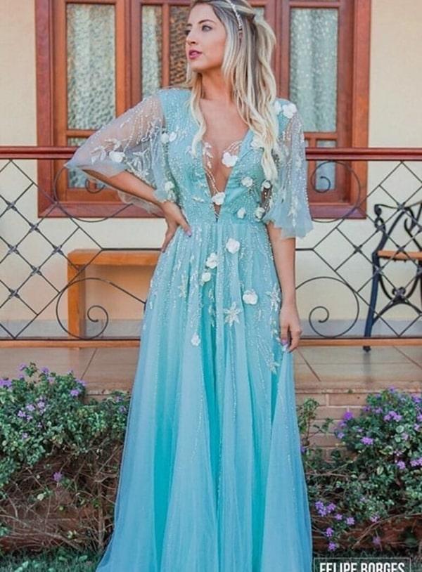 vestido de festa longo tiffany para madrinha de casamento