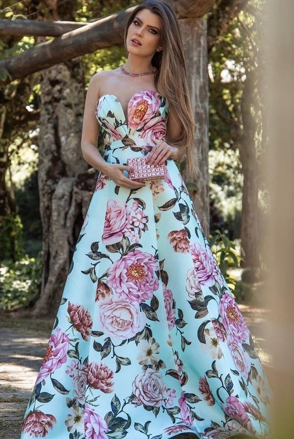 vestido de festa estampa floral para madrinha de casamento