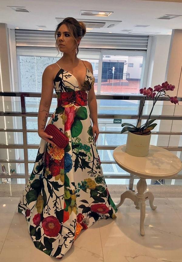 vestido de festa longo estampado  modelo princesa para madrinha de casamento