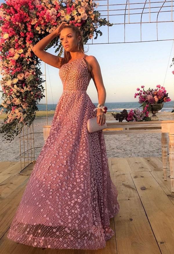 vestido de festa longo rosa com bordado 3D