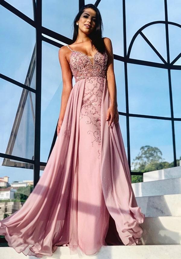 vestido longo rosa bordado para madrinha de casamento