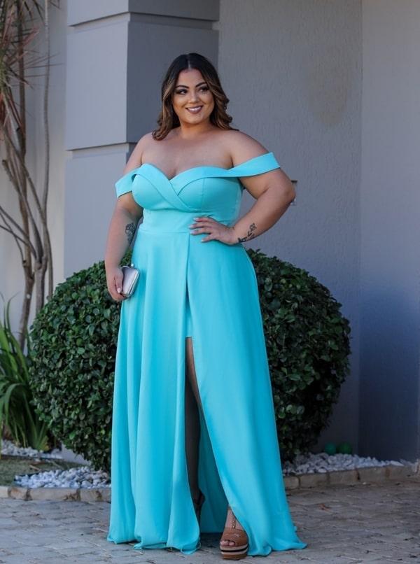 vestido de festa longo tiffany plus size fluido para madrinha de casamento