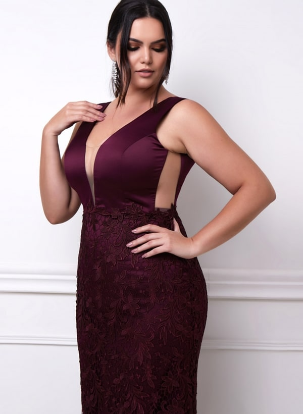 vestido de festa longo vinho curve plus size