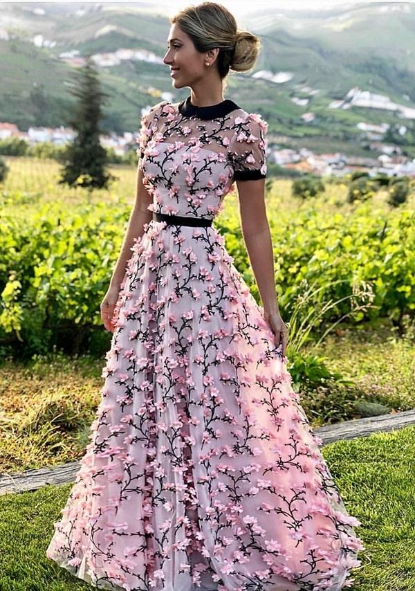 vestido de festa longo rose com bordado 3D