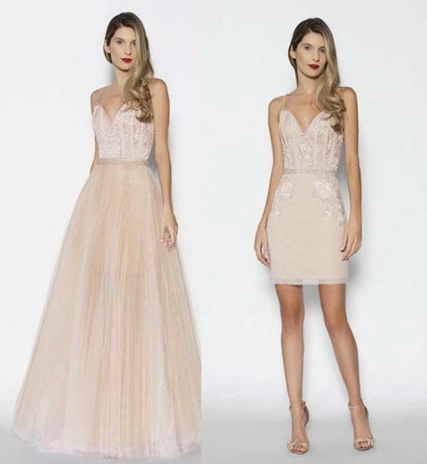 vestido de festa 2 em 1 rose